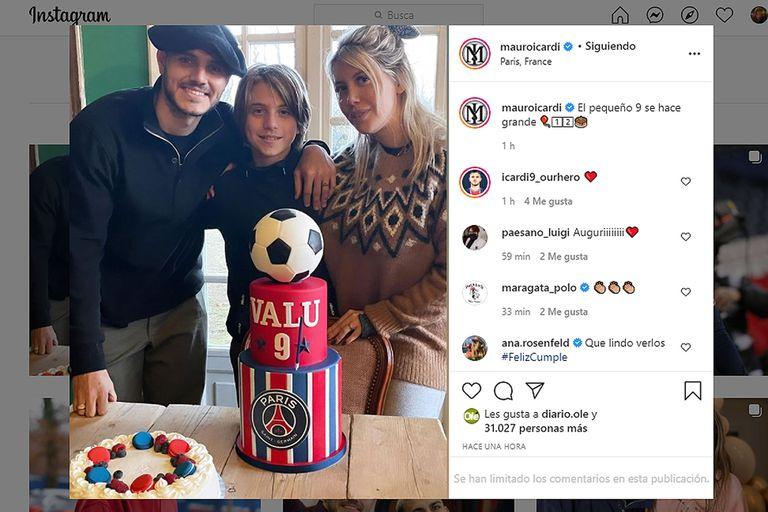 """El cumpleaños futbolero de Valentino, el hijo """"bombardero"""" de Wanda Nara"""