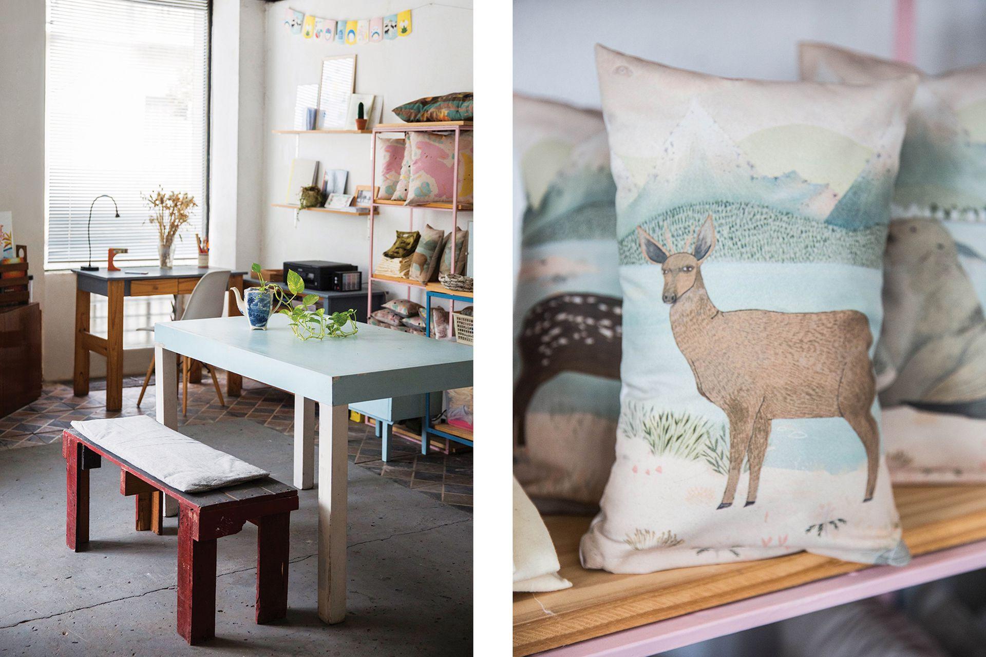 El espacio funciona como espacio de trabajo compartido, showroom y sala de talleres. A la derecha, textiles que difunden la fauna nativa de Fauna Querida.