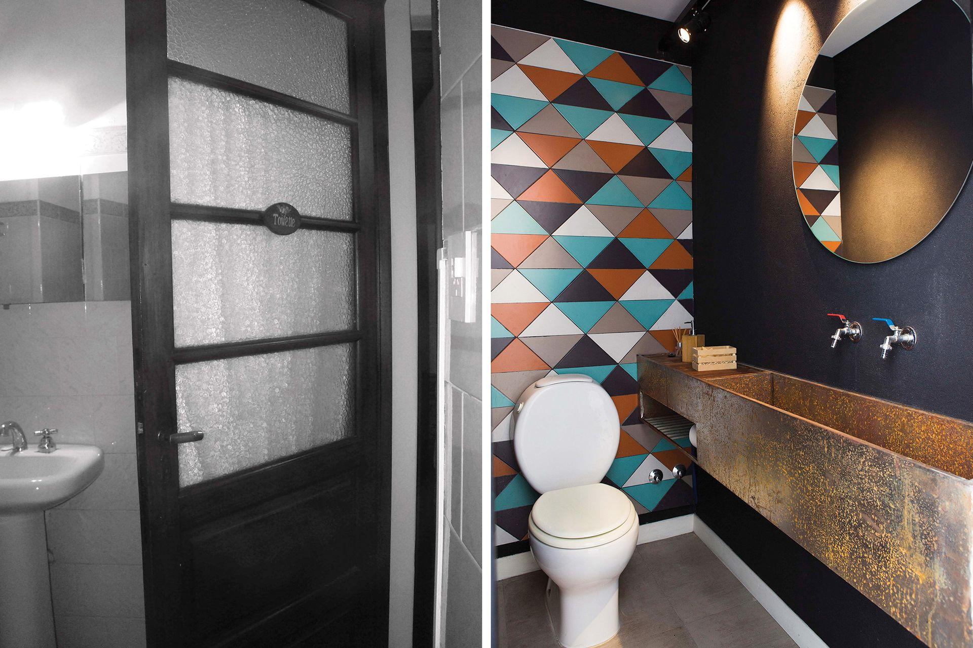 ANTES: La propiedad tenía un único baño. DESPUÉS: Se hizo espacio para agregar este toilette justo delante del baño principal, en la espalda del living. La puerta corrediza contribuye a aprovechar sus dimensiones al máximo.