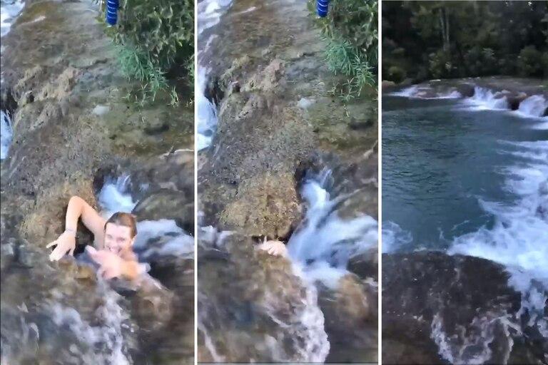 Un joven se tiró por un túnel de agua y tardó más de lo imaginado en salir a flote