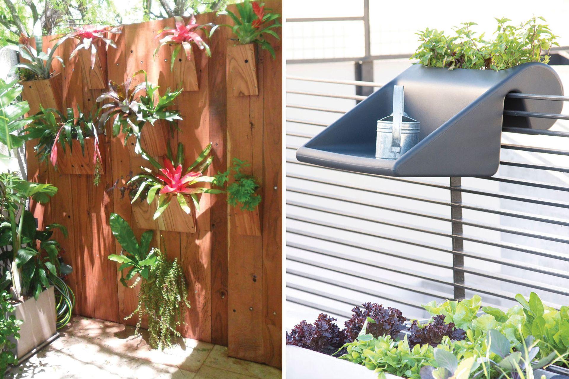 Ubicar las plantas sobre una pared permite darle valor a una superficie que de otro modo quedaría desaprovechada (izq.), mientras que una bandeja colgante hace las veces de mesa y macetero (der.).
