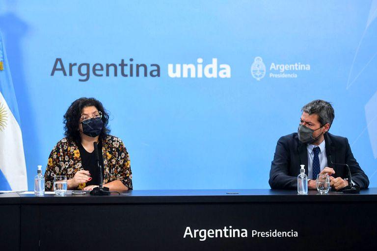 Conferencia de prensa de la ministra Carla Vizzotti junto al ministro Matías Lammens.