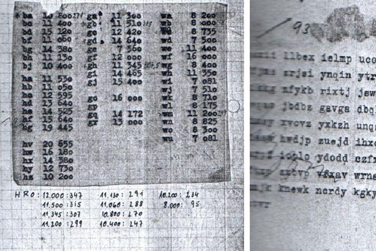 Mensaje cifrado por sistema Enigma. Los radiotelegrafistas se movían de una radioestación a otra y llegaron a transmitir hasta 20 mensajes diarios