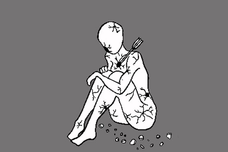 En la segunda internación psiquiátrica, que fue en pandemia, como estábamos aislados me dejaron tener la tablet para dibujar o ver series. Empecé a hacer dibujos, como este, donde trataba de mostrar cómo me sentía