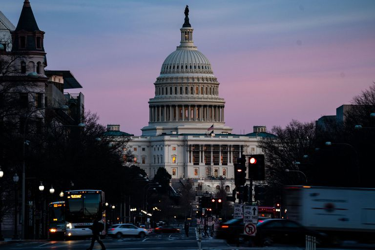 WASHINGTON, DC - FEBRUARY 08: The sunsets over the U.S. Capitol Building on Monday, Feb. 8, 2021 in Washington, DC. The Senate is scheduled to begin the second impeachment trial of former President Donald Trump on Feb. 9. (Kent Nishimura / Los Angeles Times/Polaris)