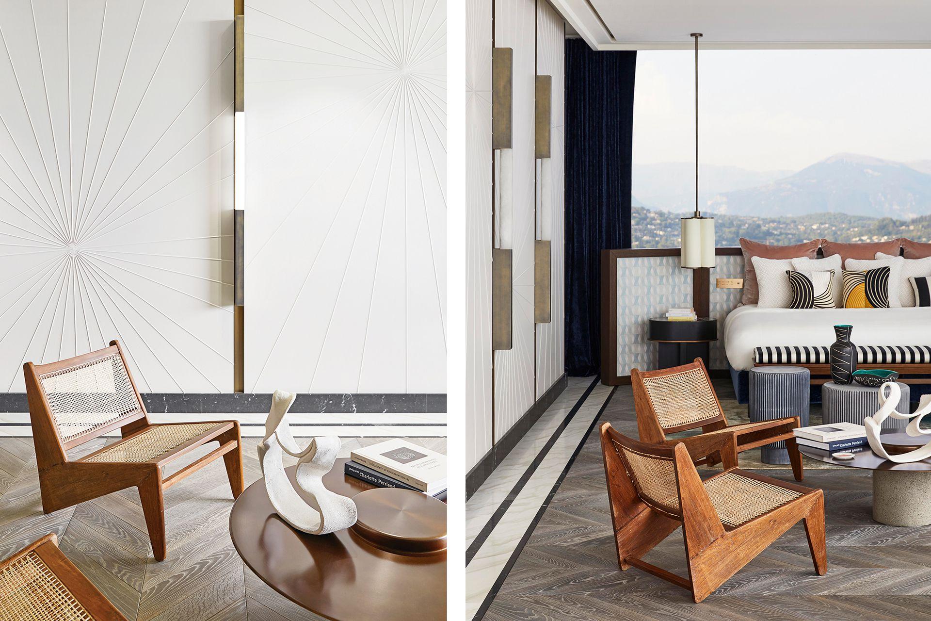 El respaldo de cama al estilo biombo se enteló con un motivo del artista óptico Victor Vasarely (Rubelli). Almohadones estampados (Pierre Frey).