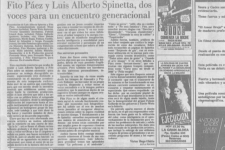 Crítica de Víctor Hugo Ghitta del recital de Obras de Fito Páez y Luis Alberto Spinetta, 13 de diciembre de 1986