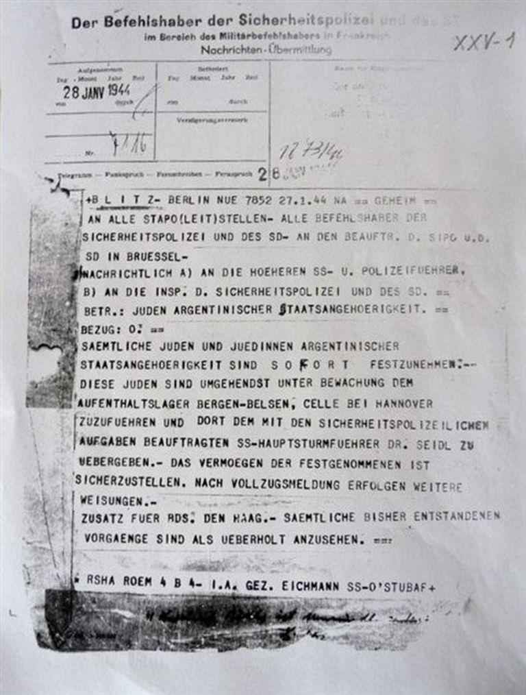 El telegrama de Eichmann que ordena la detención de judíos argentinos