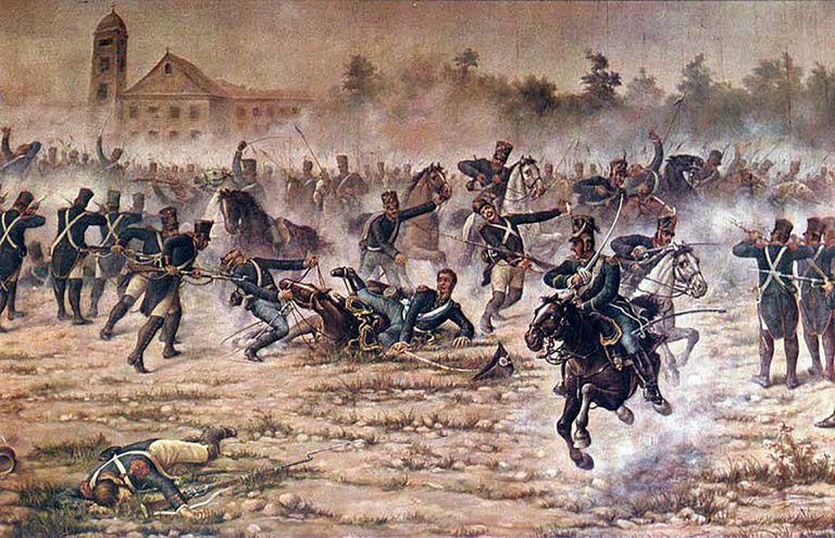 San Martín y sus granaderos en la acción de San Lorenzo, el 3 de febrero de 1813. Caballería patriota frente a infantería realista.