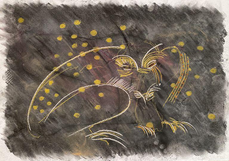 Otro dibujode la serie producida en la pandemia que Chaile expone ahora en la Gran Manzana