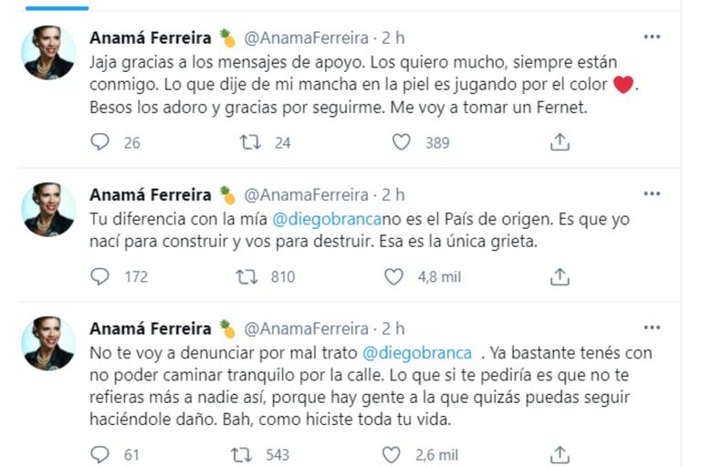 """La modelo le respondió al periodista en Twitter y sostuvo que no lo iba a denunciar por maltrato: """"Yo nací para construir y vos para destruir"""""""