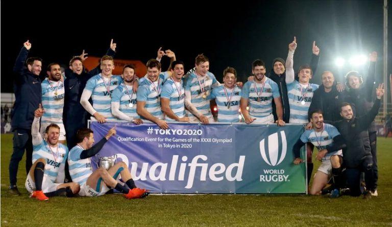 La alegría del equipo de rugby seven cuando consiguió la clasificación para Tokio, en el Sudamérica Rugby Sevens, que se disputó en Santiago de Chile