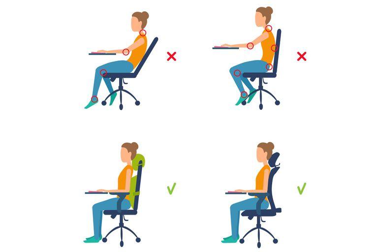 Los expertos recomiendan una postura frente a la computadora que enderece la espalda, relaje los hombros, lleve los codos a un ángulo de 90 grados y permita apoyar bien los pies en el piso