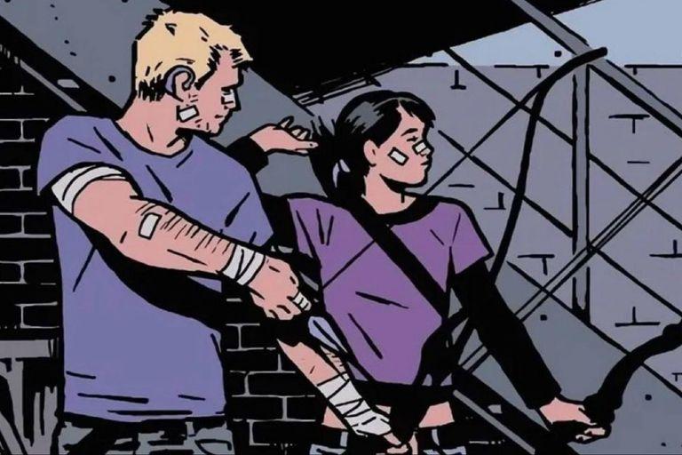 Hawkeye junto a su alumna, Kate Bishop