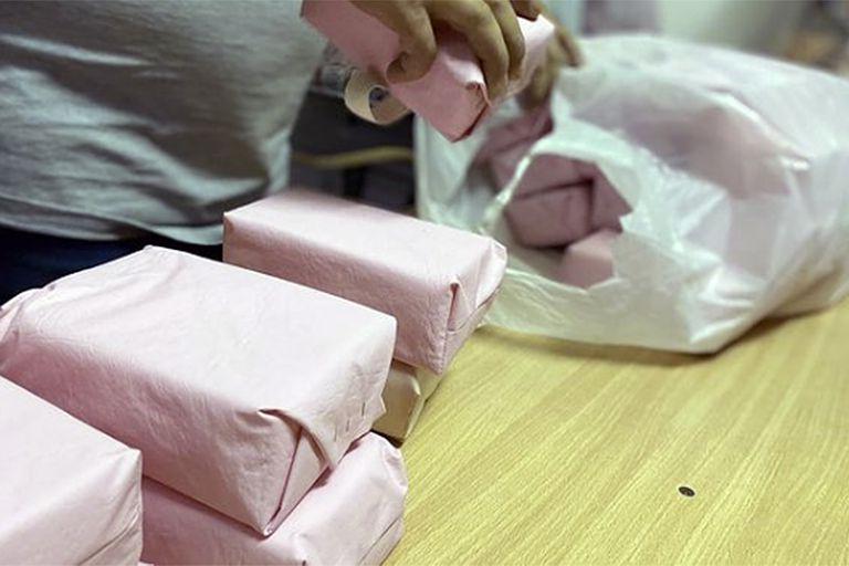 Los fantomas de músculos deltoides en los que practicarán los vacunadores en la provincia de Buenos Aires.