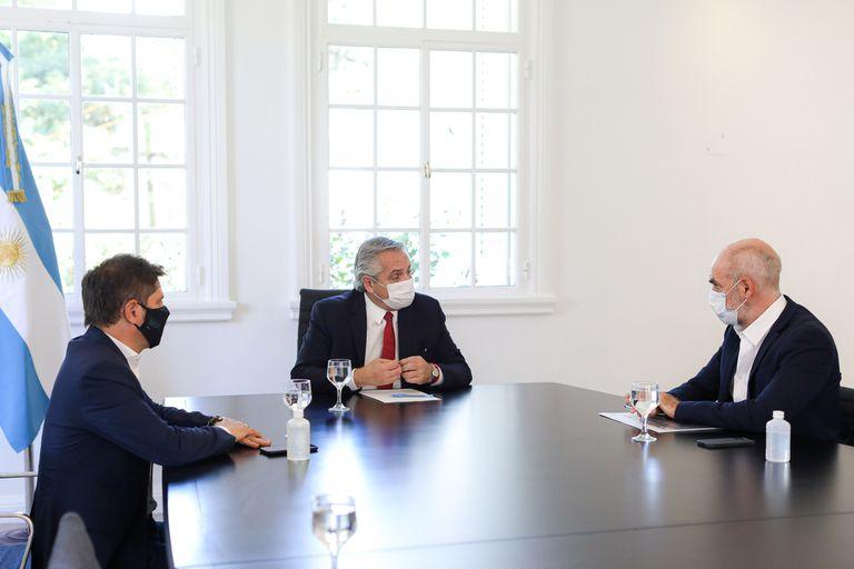 Reunion entre el Presidente Alberto Fernandez, el Gobernador por Buenos Aires Axel Kicillof y el Jefe de Gobierno de la Ciudad de Buenos Aires Horacio Rodriguez Larreta.