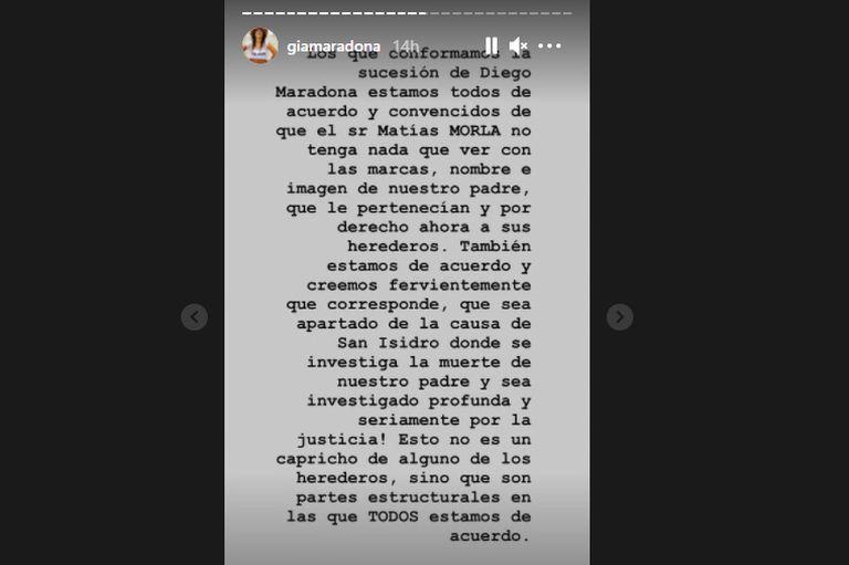 Captura de pantalla de historias en Instagram de Gianinna Maradona