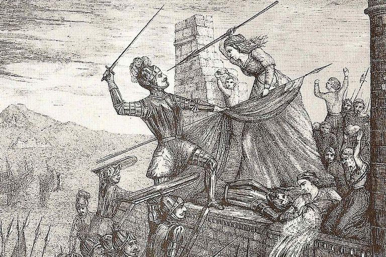 Un grabado que hace referencia a la batalla de La Coruña