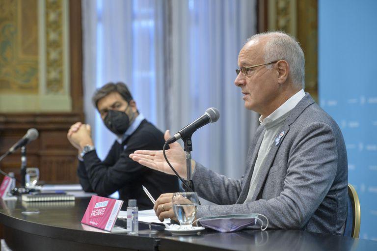 Daniel Gollán y Carlos Bianco en conferencia de prensa esta mañana
