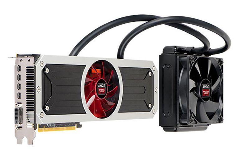 Una vista de la placa gráfica AMD Radeon R9 295X2