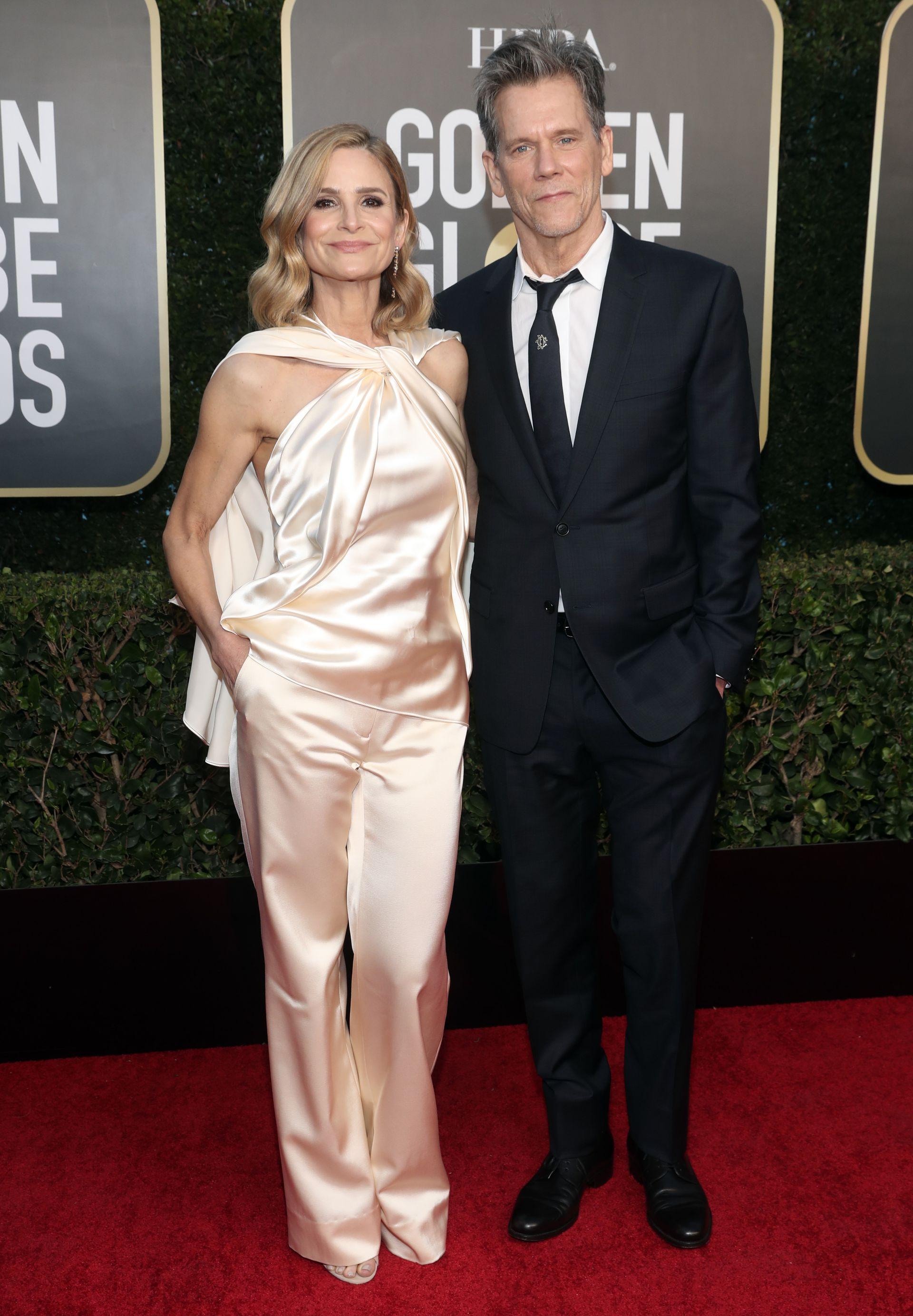 Kevin Bacon y Kyra Sedgwick en los Globo de Oro, en febrero último