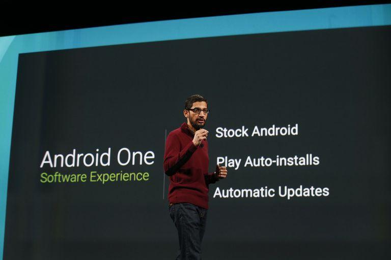 Sundar Pichai, vicepresidente senior de Google, anunciando AndroidOne