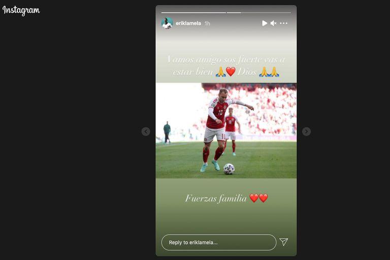 Publicación en el Instagram de Erik Lamela