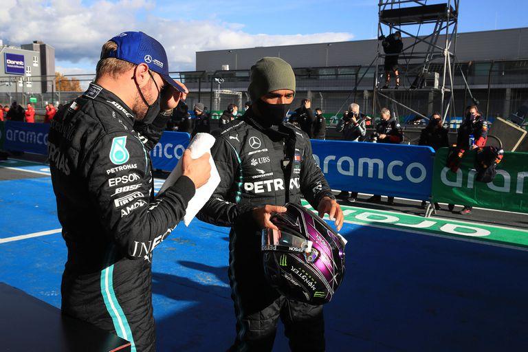 Valtteri Bottas es el principal obstáculo para que su compañero Lewis Hamilton empate en Nürburgring el récord de 91 victorias de Michael Schumacher: el finés largará primero, y el inglés, segundo.