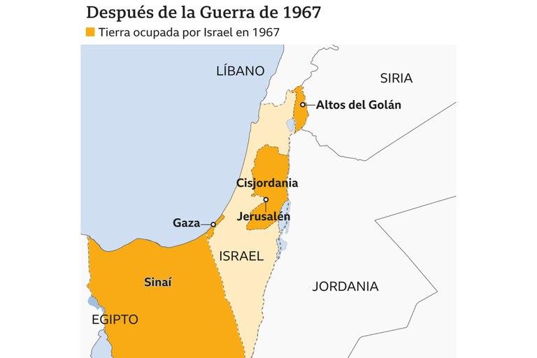 Luego de la guerra de 1967, así quedó la disposición del territorio