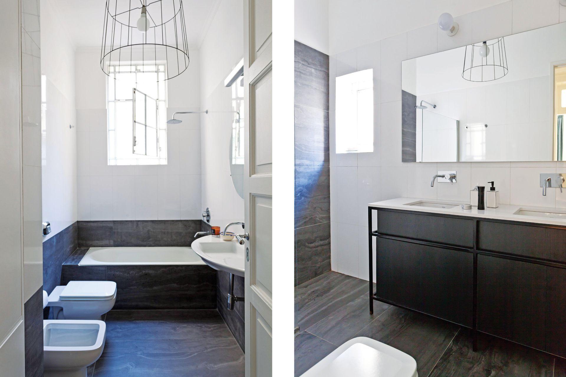 En ambos baños, lámparas diseñadas por el Arq. Tomás Magrane. El mueble que sostiene dos bachas le agrega espacio de guardado al baño en suite (Estudio Trama y taller Kiri). El contraste con el nuevo porcelanato símil Travertino negro le dio luz a las paredes.
