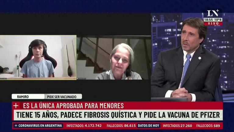 """""""Necesito la vacuna de Pfizer"""": el desesperado pedido de un chico con fibrosis quística"""