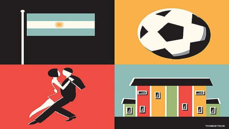 El fútbol, el tango y Caminito, algunos íconos de Argentina.
