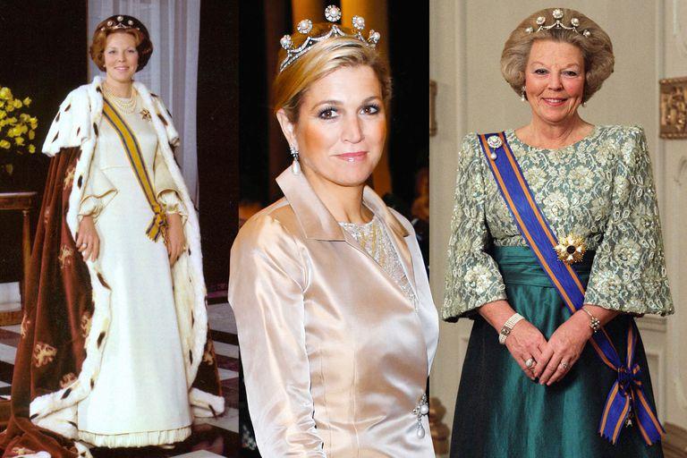 La tiara de perlas con brillantes es una de las más significativas de la colección Orange porque Beatriz la llevó cuando fue proclamada reina, en 1980 (izquierda). Es una de sus favoritas y Máxima la lució durante un concierto que el sultán de Brunei ofreció en honor a su suegra en enero de 2013.