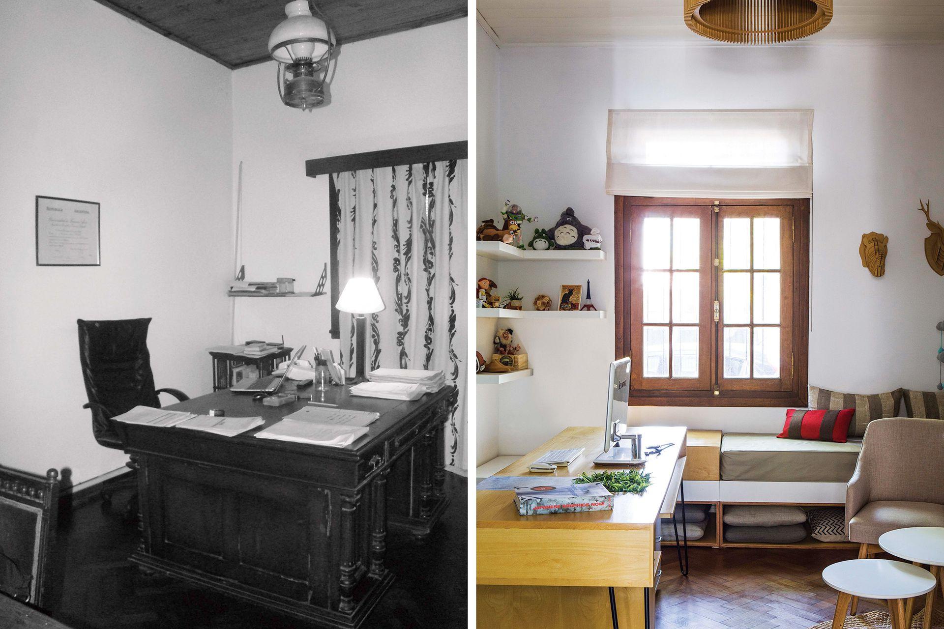 ANTES: Estos ambientes tenían piso de parquet, cielos rasos y aberturas de madera. DESPUÉS: Las ventanas se reemplazaron por antiguos ventanales de madera maciza.