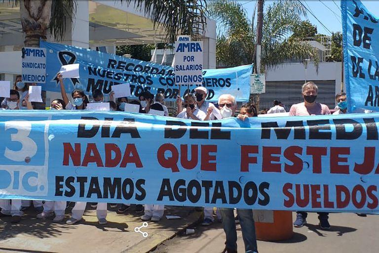 Protesta en la localidad de Ramos Mejía, en la provincia de Buenos Aires