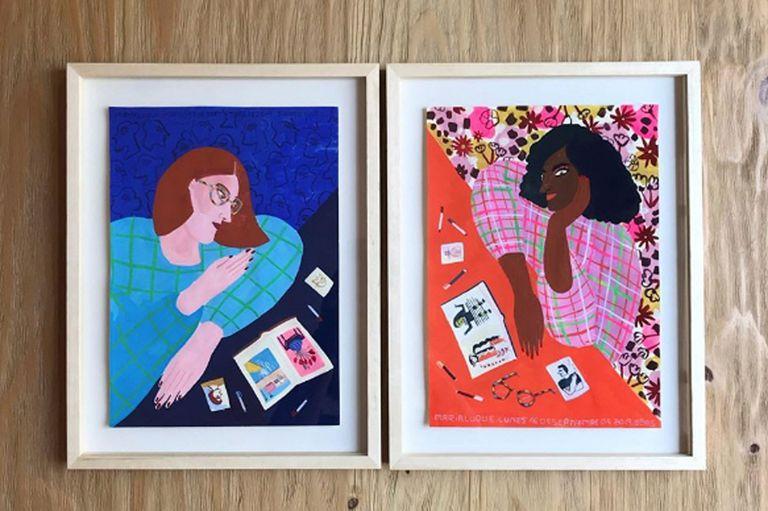 Dos obras sin título de Maria Luque en gouache sobre papel