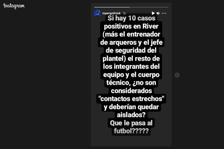 Mario Pergolini expresó su malestar por la situación generada en River Plate a partir de 10 casos de coronavirus.