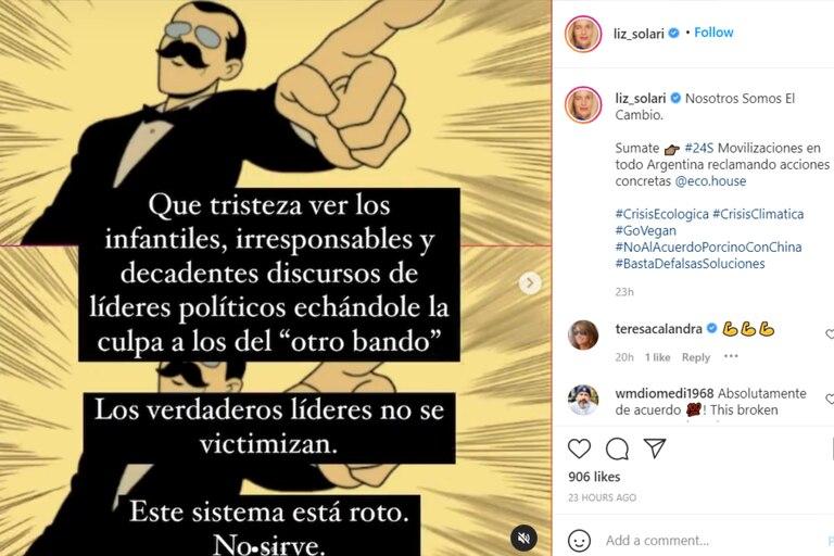 El duro mensaje de la actriz en Instagram en el que apuntó contra los gobiernos del mundo