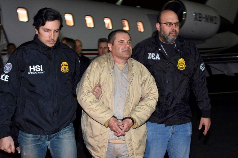 El Chapo, al llegar detenido a Estados Unidos, en 2017