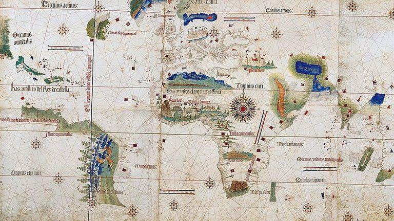 Este mapa de 1502 muestra el territorio del nuevo mundo descubierto por Cristobal Colón.