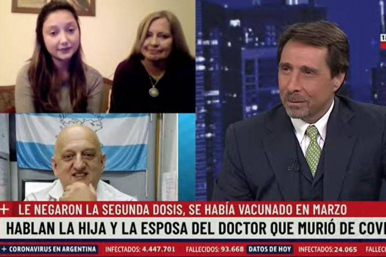 Celeste Durán y Sonia Moretta dialogaron con Eduardo Feinmann tras el fallecimiento de Gustavo Roldán de coronavirus, luego de que le postergaran la segunda dosis de la vacuna contra el Covid-19