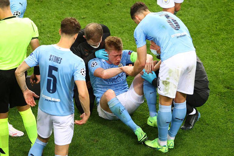 Luego del golpe con el alemán Antonio Rüdiger, Kevin De Bruyne fue diagnosticado con fractura del hueso de la nariz y también fractura orbitaria izquierda