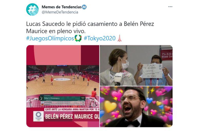 """""""Flaca, ¿te querés casar conmigo? Por favor"""", escribió Saucedo en la pancarta"""