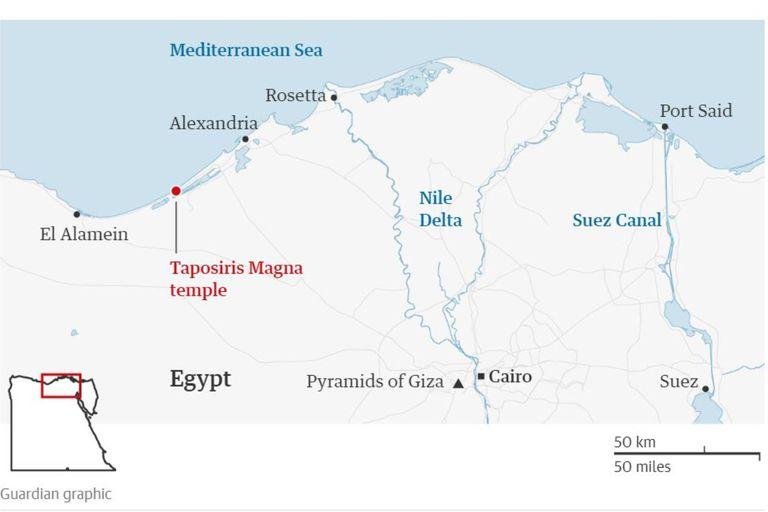 El lugar donde fueron halladas las dos momias envueltas en láminas de oro