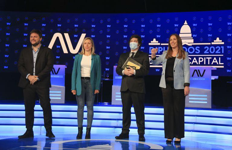 Leandro Santoro, Myriam Bregman,  Javier Milei y Maria Eugenia  Vidal durante el debate  televisivo. (Foto NA: MARCELO  CAPECE)
