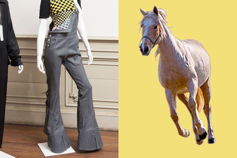 La pezuña de un caballo, camello o vaca convertida en una original botamanga de un pantalón oxford