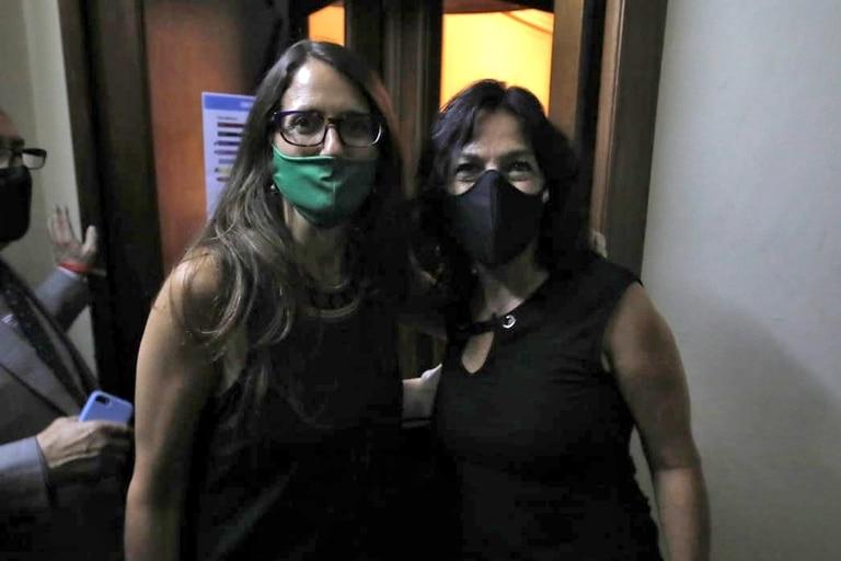 La ministra de las Mujeres, Géneros y Diversidad, Elizabeth Gómez Alcorta, junto a la secretaria de Legal y Técnica, VIlma Ibarra, llegaron al Senado. Ambas están a favor de la legalización del aborto