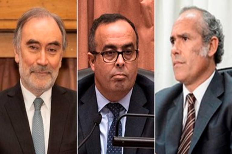 Los magistrados Pablo Bertuzzi, Leopoldo Bruglia y Germán Castelli, a la espera de sentencia firme por la Corte Suprema