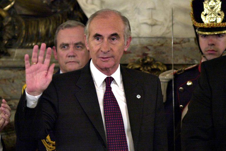 Fernando de la Rúa en el Salón Blanco de la Casa Rosada el 7 de noviembre de 2001