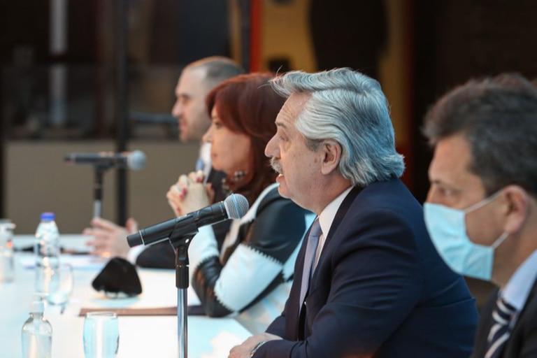 Martín Guzmán, Cristina Kirchner, Alberto Fernández y Sergio Massa